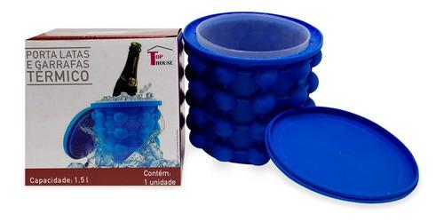Balde Para Fazer Gelo Rápido Silicone Azul 120 Cubos