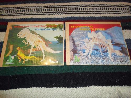 Rompecabezas 3d Dinosaurios De Madera Lote X2u