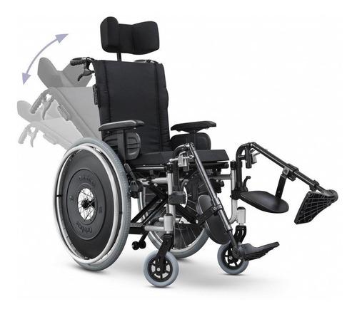 Cadeira De Rodas Avd Alumínio Reclinável 50cm Preta Ortobras