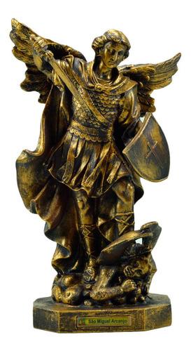 Imagem São Miguel Arcanjo Ouro Velho 34cm Inquebrável
