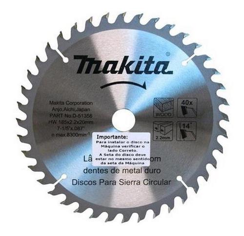 Disco De Serra Para Madeira 185mm 40 Dentes D51356-10 Makita