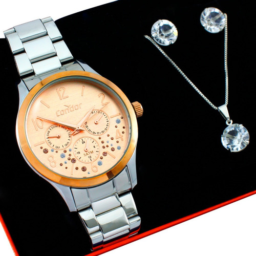 Relógio Condor Feminino Rose / Prata + Kit Co6p29ja/k2j