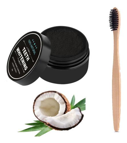Carbón Activado De Coco Teeth Whitening Con Cepillo