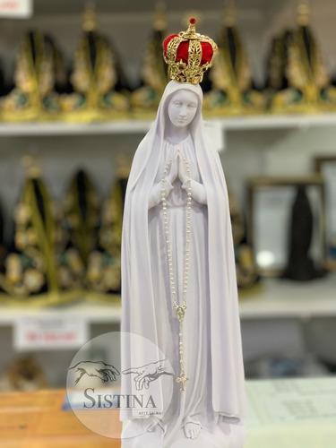 Imagem Nossa Senhora De Fatima 43cm Resina E Pó De Mármore