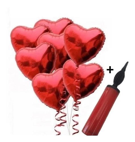 10 Balão Metalizados Coração C/ Lacre 45cm Festa + Bomba