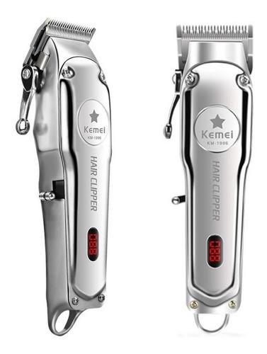 Máquina De Cabelo Sem Fio Kemei Km-1996  Prata 110v/220v