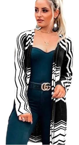 Casaco Cardigan Zig Feminino Longo Tricot Trico Blusas Femin