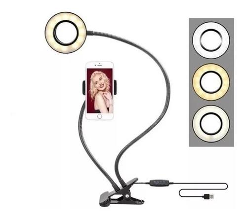 Suporte Celular De Mesa Luminária  Ring Light Led Selfie