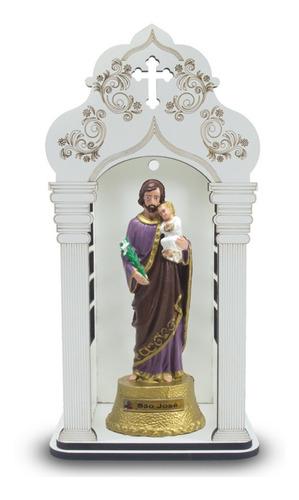 Capela Com Imagem De São José 34cm Inquebrável