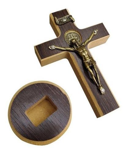 Cruz Crucifixo Pequeno De Madeira Parede Mesa São Bento 12cm