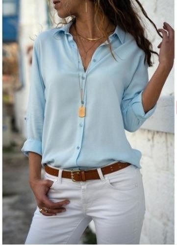 Camisa Social Feminina Lisa Cores De Verão Lançamento 185