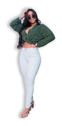 Calça Jeans Feminina Luxo Cintura Alta Luxo