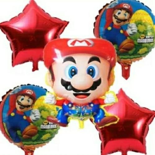 Bouquet De Globos Super Mario Bros Metalizado Paq X5 Unidade