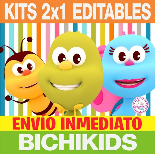 Kit 2x1 Imprimible Bichikids Candy Bar, Deco, Banderin