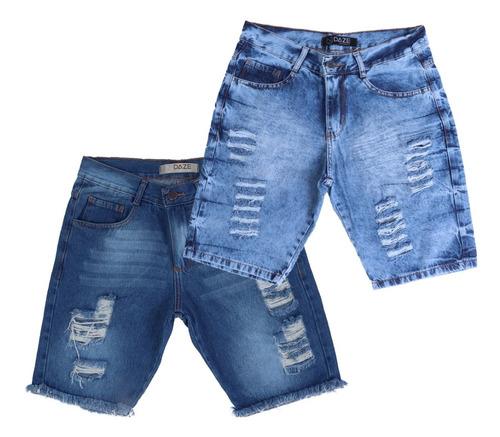 Kit 2 Bermudas  Shorts Jeans Rasgado Plus Size Destroyed