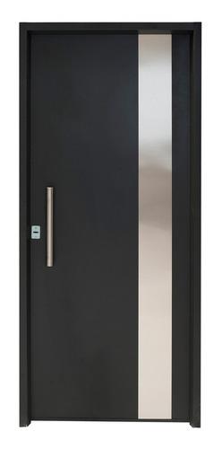 Puerta Inyectada Negra Con Barral 80x200 Izquierda