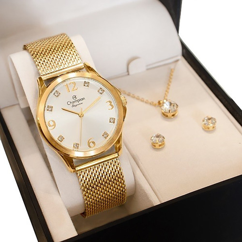 Relógio Champion Feminino Dourado Prova D' Água + Kit Brinco