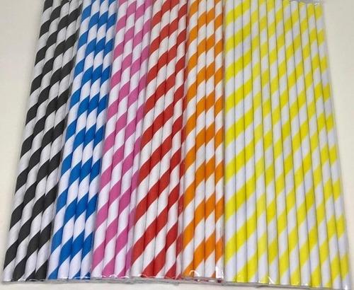 120 Canudos De Papel Listrados Coloridos Para Topo De Bolo