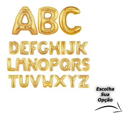 Balão Letras E Números 75 Cm Dourado E Prata