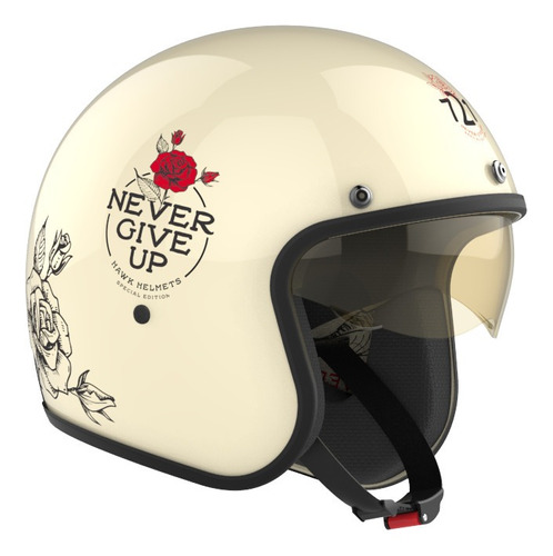 Casco Para Moto Abierto Hawk 721 Never Give Up Talle S