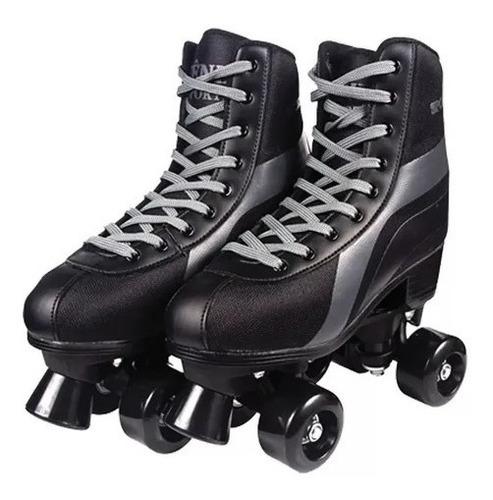 Patins Roller Skate 4 Rodas Preto - 38/39 - Fenix
