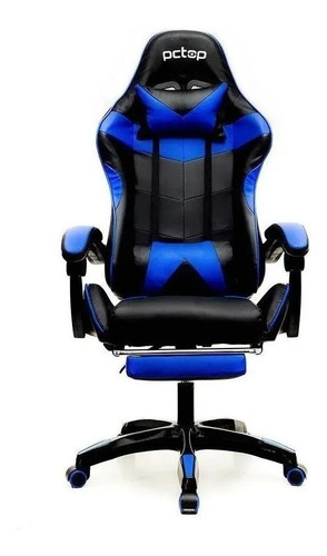 Cadeira De Escritório Pctop Pg  Preta E Azul Com Estofado Do Couro Sintético