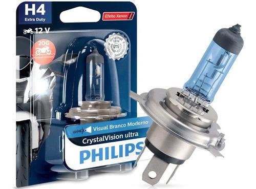 Lampada Farol Moto Crystal Vision Ultra H4 12v 60/55w Philip
