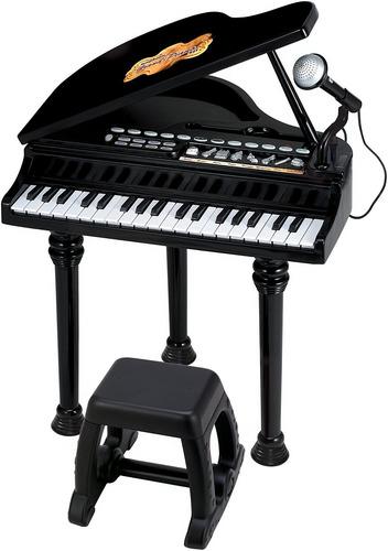 Piano Sinfonia Pianinho Infantil Preto Modelo Luxo Winfun