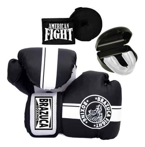 Kit Boxe Muay Thai Luva Bandagem Bucal Masculino Brazuca Top