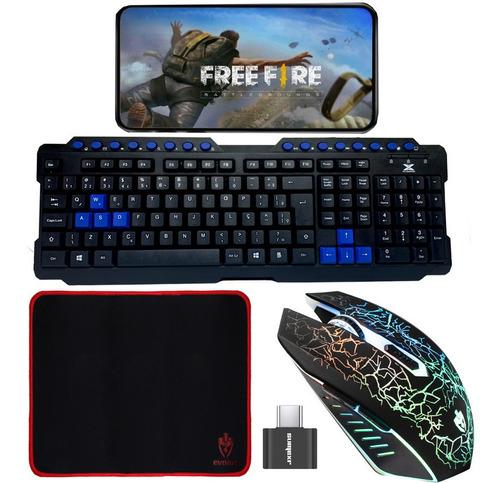 Teclado Mouse Pad Gamer Para Celular Hub Otg Free Fire Pubg