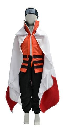 Fantasia Naruto Hokage Capa Cosplay Infantil