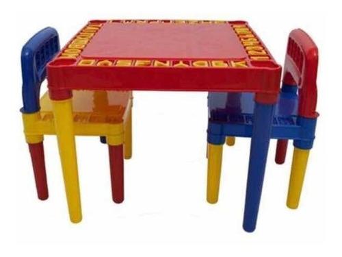 Mesa Infantil Com 2 Cadeiras Educativa P/ Crianças + Brinde