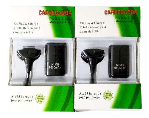 Kit 2 Bateria Recarregável Para Xbox 360 Com Carregador