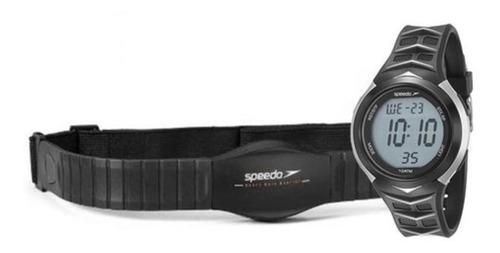 Kit Relógio Digital Masc. Speedo E Monitor Cardíaco Pr/cinza