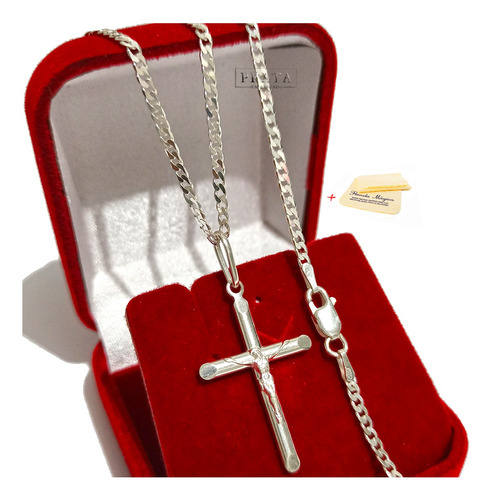 Corrente Cordão Prata Masculina Pingente Crucifixo Cristo 2m