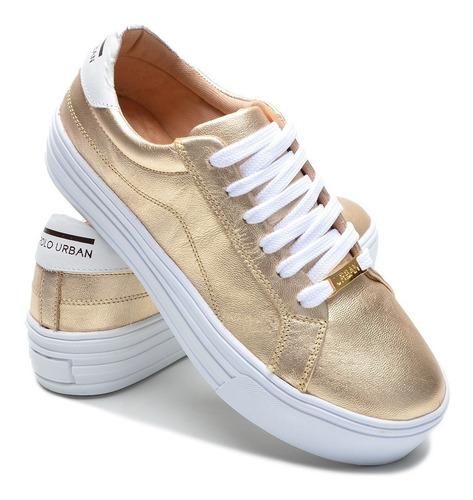 Sapatenis  Tenis Sapato Casual Feminino Couro Legítimo