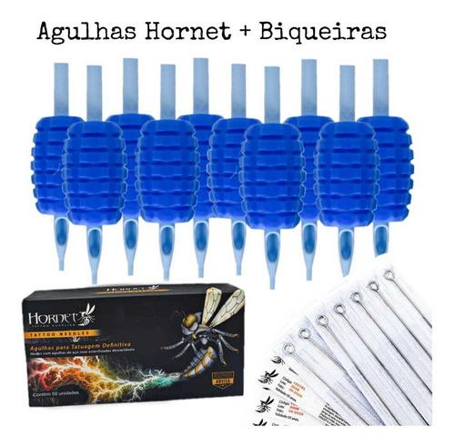 Kit 10 Biqueiras + 10 Agulhas Hornet Traço Pintura Tatuagem