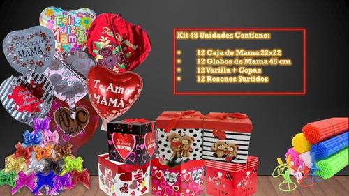 Pack 48 Unidades  (caja+globo Dia Mama+varilla+rosones)