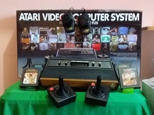 Atari Frente De Madeira Pinos Cromados Na Caixa + Jogos .