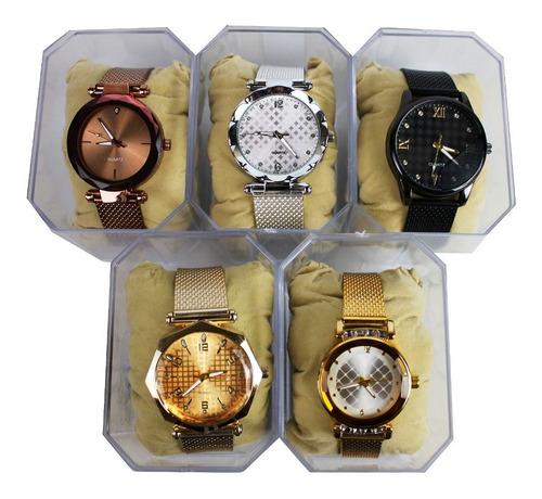 Kit 5 Relógios Feminino C/ Pulseira De Malha + Caixa + Bater