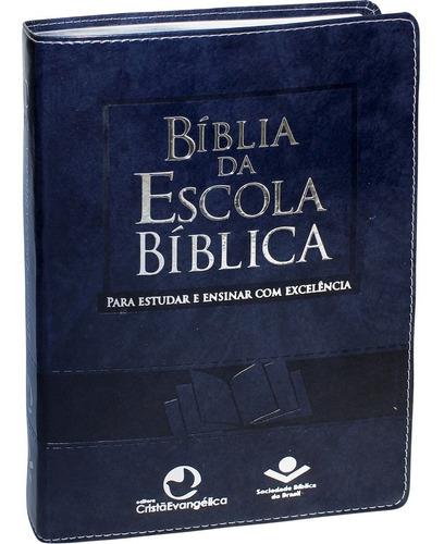 Bíblia Evangélica Estudo Escola Bíblica Azul Masculina Luxo