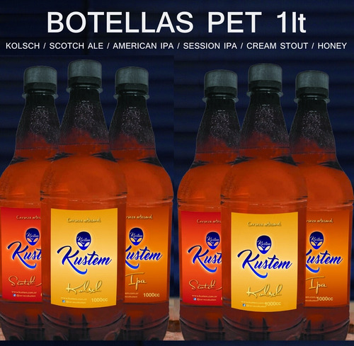 Cerveza Artesanal Kustem Botellas Pet 1lt