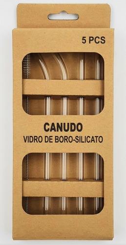 Canudos Vidro Reutilizável - 2 Retos + 2 Curvos + 1 Escova