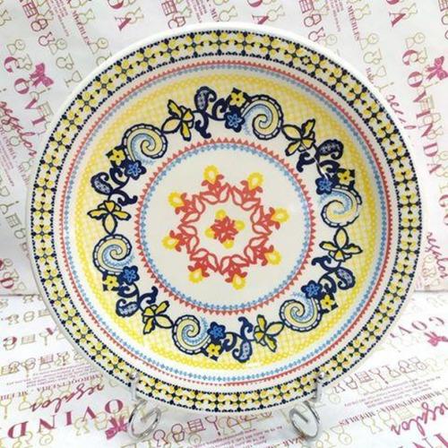 Plato Llano Ceramica Con Diseños 26 Cm Vajilla Loza