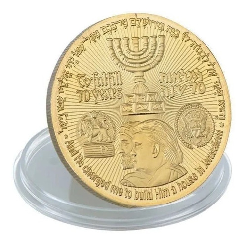 Moeda Templo Rei Cyrus Judaica Israel Jerusalém Trump Prata