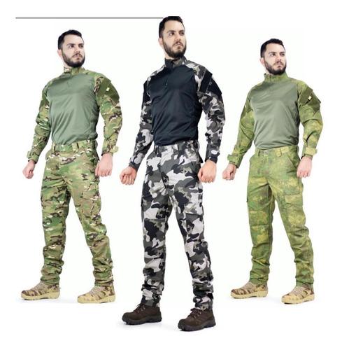Farda Camisa Multicam Combat Shirt + Calça Masculina Tatica