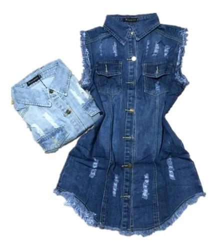 Max Colete Jeans Comprido Feminino Moda Blogueira