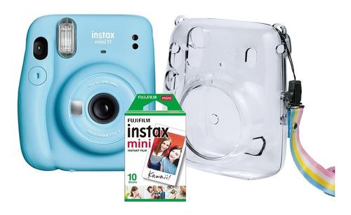 Kit Câmera Instantânea Instax Mini 11 Azul Case Filme 10