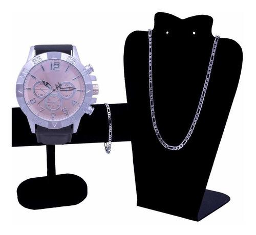 Relógio De Pulso Masculino+ Corrente Prata+ Pulseira Prata
