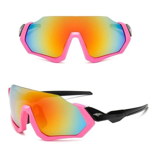 Óculos Bike Ciclismo Feminino Rosa Espelhado Proteção Uv